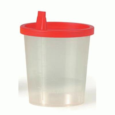 Urine Cups With Snap On Red Caps (100)