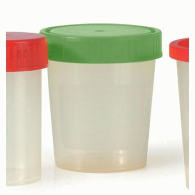 Urine Cups with green screw-on cap (100)
