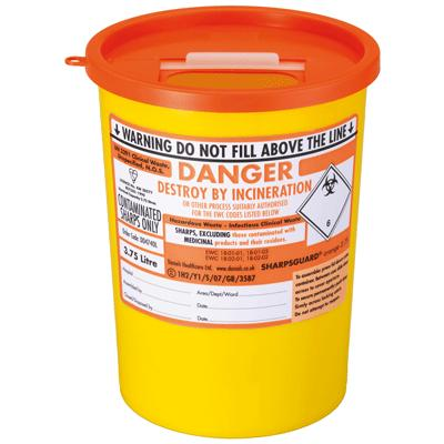 Sharps Bin with Yellow Lid - 3.75 Litre