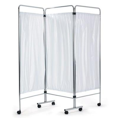 Chrome 3 Section Ward Screen with Curtains