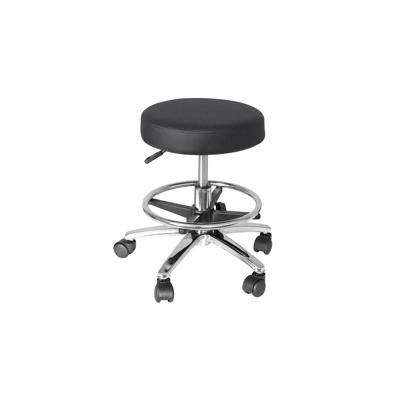 Gas Lift Round Stool with Foot Bar - Black