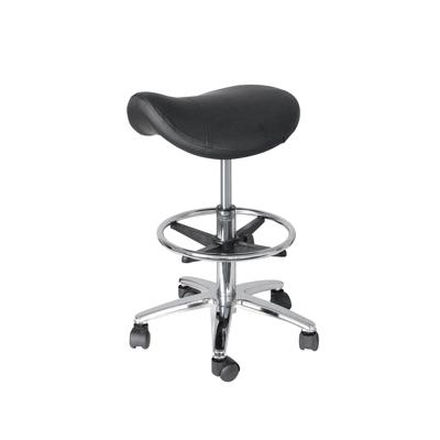 Gas Lift Saddle Stool with Foot Bar - Black