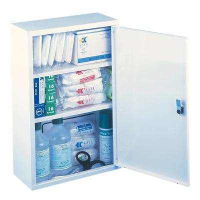 Metal First Aid Cabinet - Single with Contents