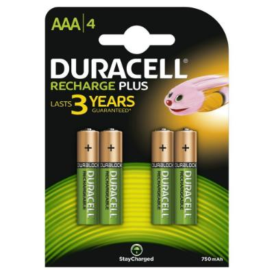 Duracell Rechargeable Accu HR03 750 mAh AAA Batteries (4)