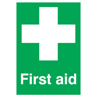 First Aid Sign - 250mm x 100mm - Self-Adhesive