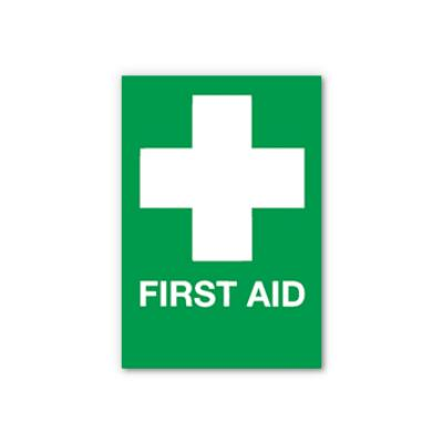 First Aid & Cross Sign - Self-Adhesive - 210mm x 148mm