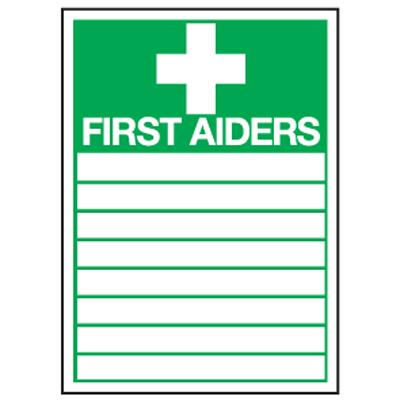 First Aiders Sign - 300mm x 200mm - Rigid
