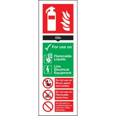 CO2 Extinguisher For Use On - Self Adhesive - 300mm x 100mm