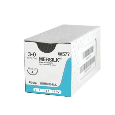Ethicon Mersilk Sutures with Needle - Black - 3/0x45cm (36)