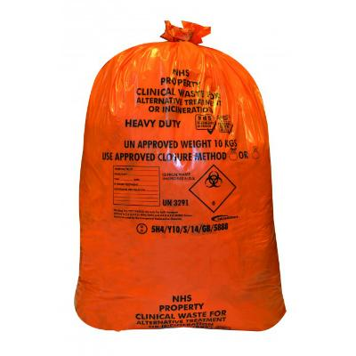 Orange Clinical Waste Sacks - Heavy Duty - 10kg (25)