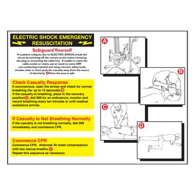 Electric Shock Emergency Resus Pocket Guide 120mm x80mm