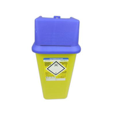 Pharmaceutical Solid Waste Bin with Blue Lid - 7 Litre