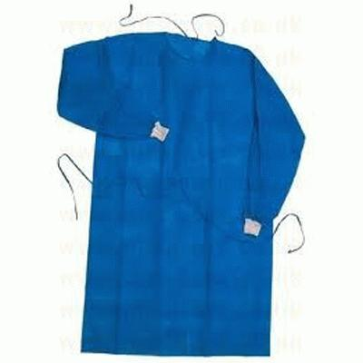 Lightweight Blue Exam Gown Long Sleeve Stockinette Cuff (50)