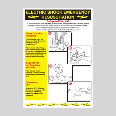 Electric Shock Emergency Resuscitation Wallchart - 600x420mm